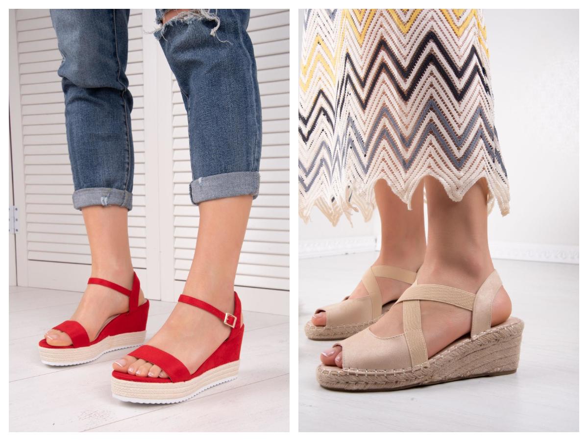 buty na koturnie z kolorystycznym akcentem i jasne
