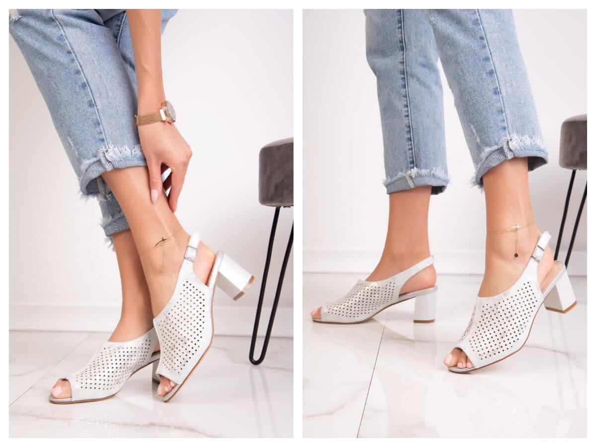 Ażurowe buty z odkrytymi palcami na obcasie