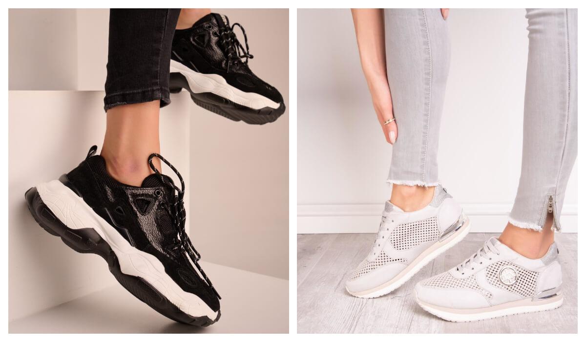 Czarne i białe damskie buty sportowe na lato