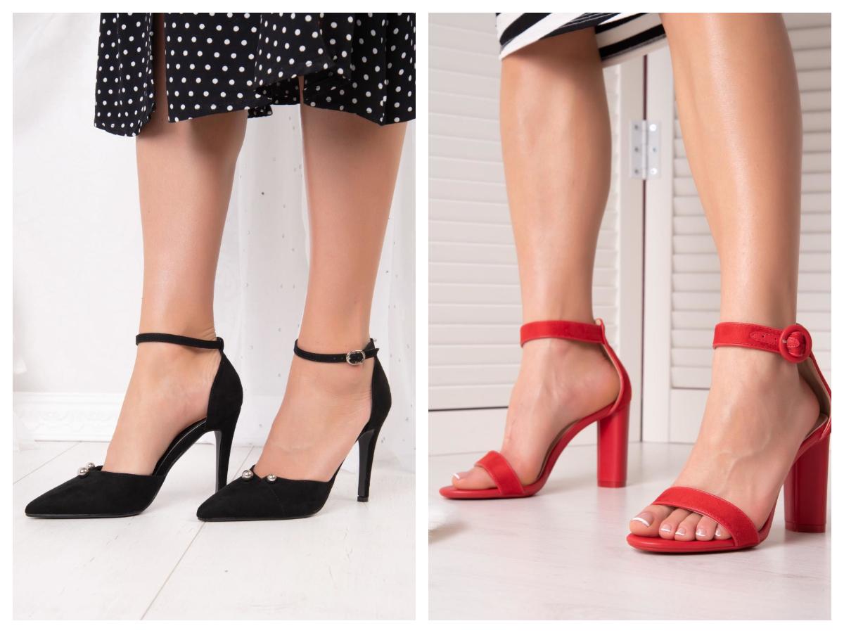 Eleganckie sandałki czerwone z paskiem na słupku