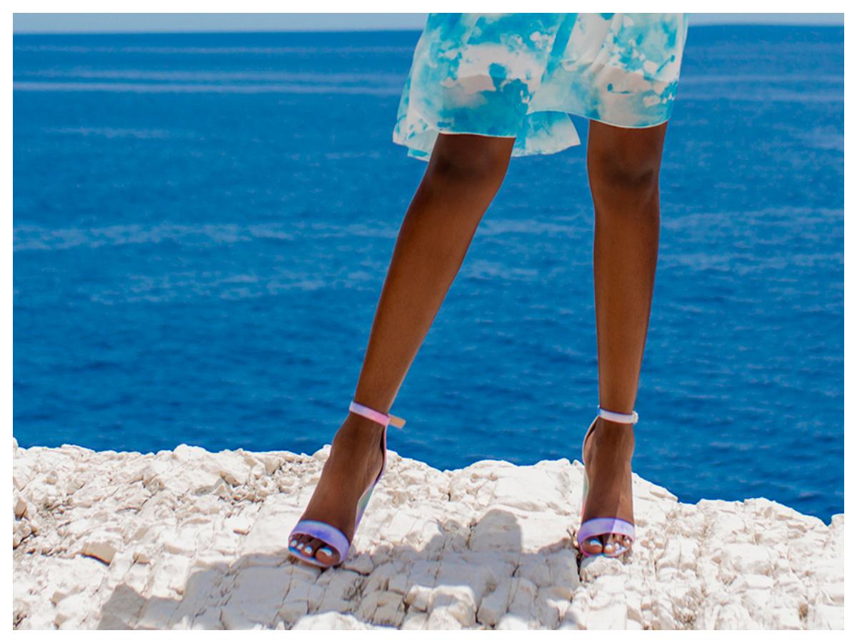 Sandałki na słupku ombre na lato